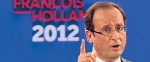 Francois Hollande, Socialist Party candidate for the 2012 French presidential election, delivers a speech in Paris