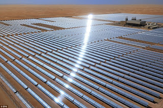 The world's largest The Shams 1 concentrated solar energy power plant in Abu Dhabi features more than 258,000 mirrors mounted on 768 tracking parabolic trough collectors, covering an area of 2.5 sq-km