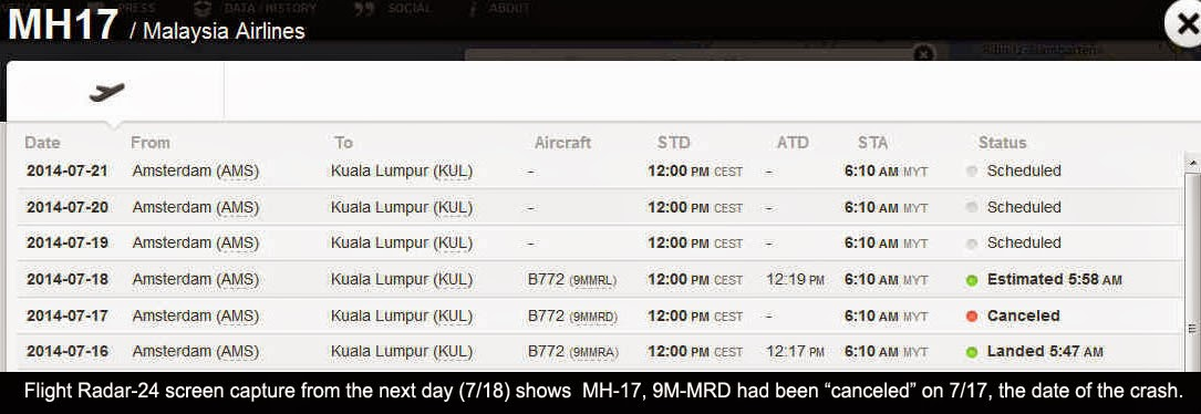 Flight Radar - MH17 Cancelled