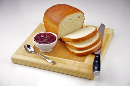 Homemade White Bread with Strawberry Jam