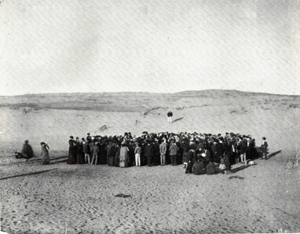 About 100 people participate in a lottery to divide a 12-acre plot of sand dunes, that would later become the city of Tel Aviv, 1909