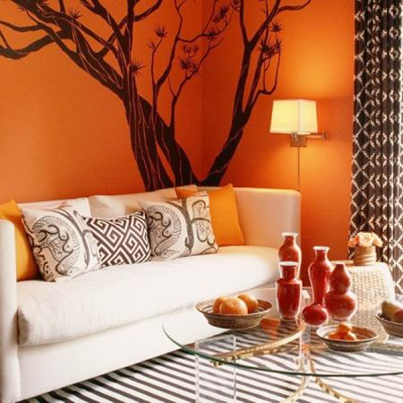 How your room color affects your mood for Living room ideas orange