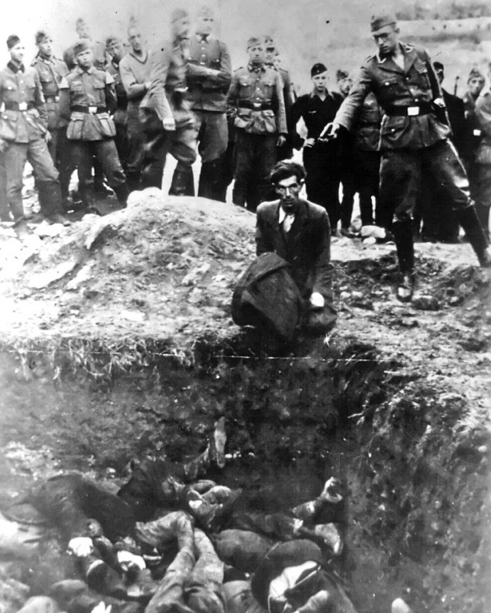 """""""The last Jew in Vinnitsa"""" – Member of Einsatzgruppe D (a Nazi SS death squad) is just about to shoot a Jewish man kneeling"""