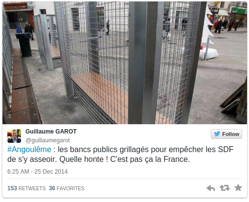 Anti Homeless Cages Installed Around Benches in French City