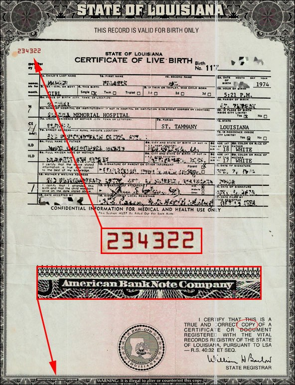 State Of Louisiana Birth Certificate