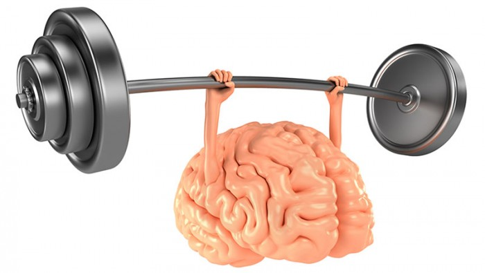 Brain lifting barbell. Mind power concept.