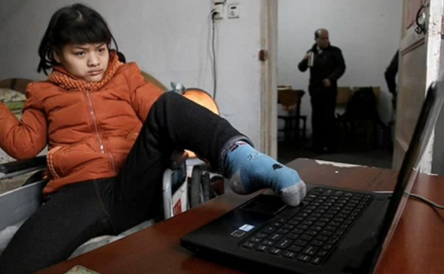 Chinese Woman With Cerebral Palsy, Does Creative Writing With Left Foot