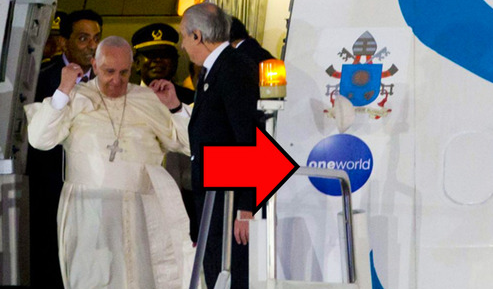 LOOK WHAT MESSAGE THE VATICAN PAPAL PLANE IS PROCLAIMING