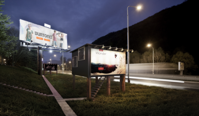 Revolutionary Designer Uses Billboards To Give Homes To Homeless Night3_copy-e1424023256794