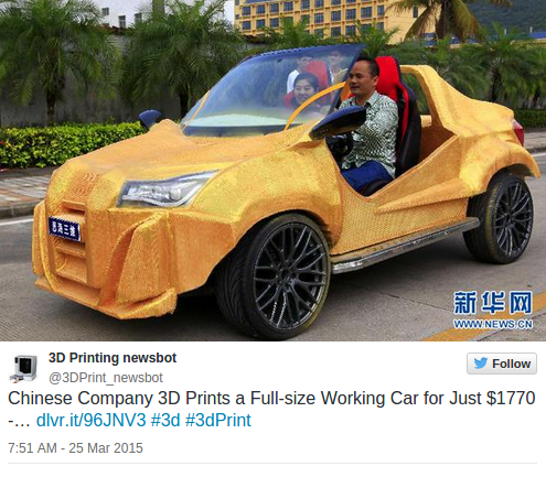 Chinese Company Creates 3D-Printed Car For Just $1,770
