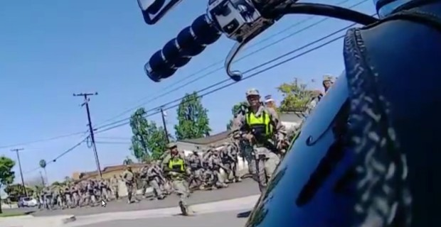 ARMED NATIONAL GUARD TROOPS PATROL RESIDENTIAL STREETS IN CALIFORNIA
