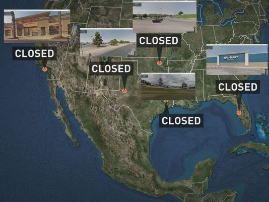 JADE Helm First Strike: Walmart Stores from Texas to Florida Close Today for 6 Months without Notice