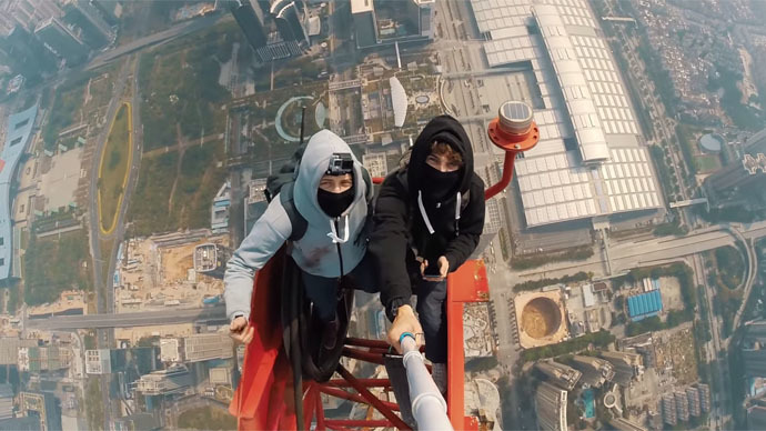 Two Daredevils, One Mega Tall Tower and a Selfie Stick
