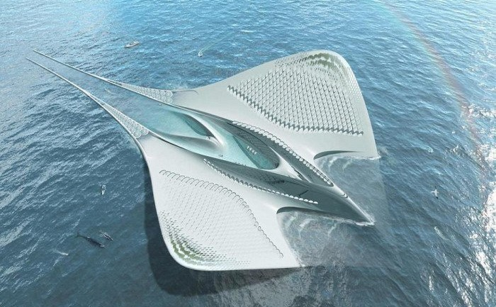 French Architect Envisions a Futuristic Sustainable Floating City Shaped Like a Manta Ray