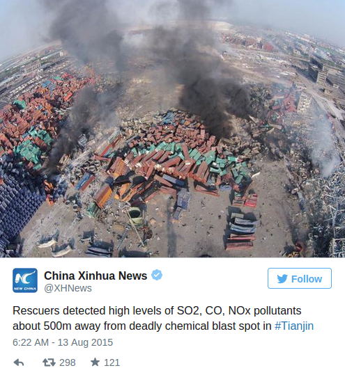 Toxic fumes detected in 500 meter radius from Tianjin blast area — RT News