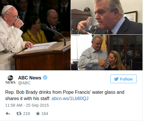 Congressman Stole Pope's Water Glass — and What He Did With It After Is Being Called 'Kinda Creepy'