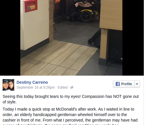 Woman Walks Into McDonald's, Gets in Line, Then Witnesses the 'Kindest and Most Humble Thing I Had Ever Seen'