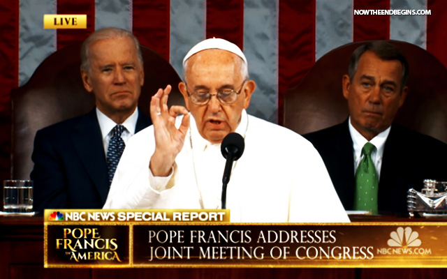 POPE FRANCIS GIVES ILLUMINATI HAND SIGNS TO START HISTORIC ADDRESS BEFORE CONGRESS