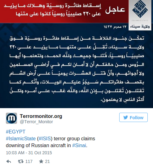 UPDATE ~ Russian Airplane Kolavia Flight 7K9268 %C2%BB-Islamic-State-Claims-to-have-Shot-Down-Russian-Airliner-over-the-Sinai-Alex-Jones-Infowars-There-s-a-war-on-for-your-mind-4
