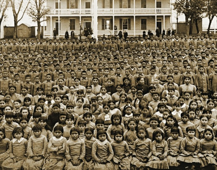 Celebrating-Genocide-–-Christopher-Columbus-Conquest-of-America-the-government-engaged-in-a-cultural-assimilation-campaign-forcing-thousands-of-Native-American-children-into-boarding-schools-1024x805