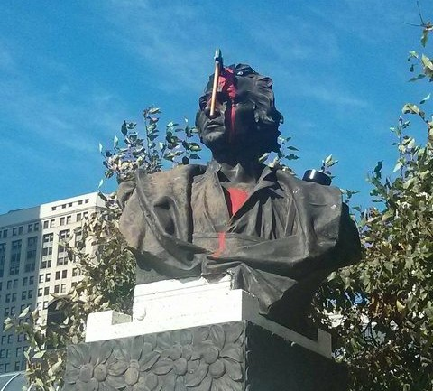 Somebody Stuck an Ax into This Christopher Columbus Statue Last Night