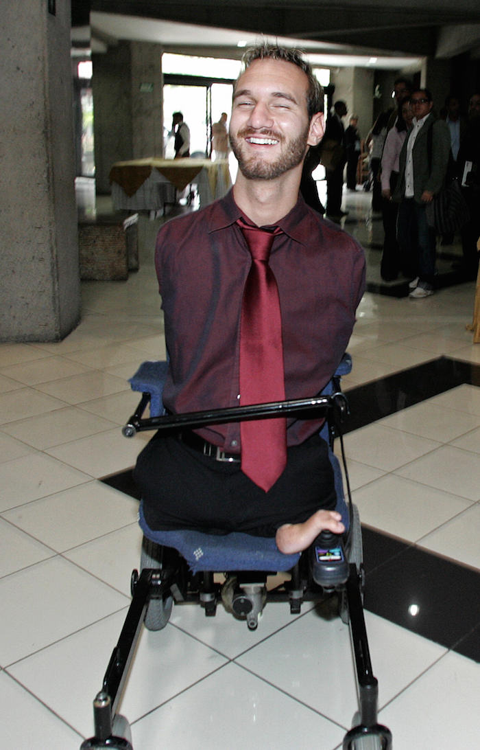 Australian motivational speaker, Nick Vujicic, born without legs or arms, is seen leaving after giving a conference at a hotel in San Jose on February 5, 2009. Vujicic is on a visit to Costa Rica to deliver several speeches about his life, as well as the organization for the physically disabled that he manages, Life Without Limbs. AFP PHOTO/ Mayela LOPEZ (Photo credit should read MAYELA LOPEZ/AFP/Getty Images)