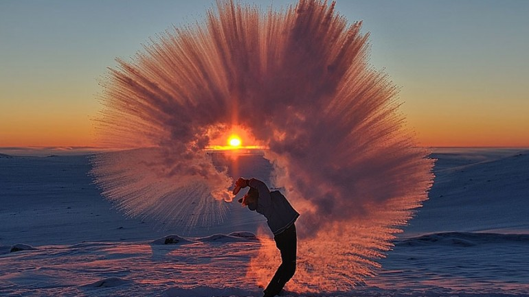 Hot Tea Freezing In Mid-Air Captured In Stunning Photograph
