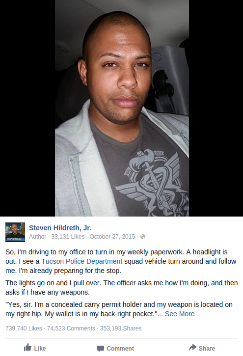 Armed Black Man's Facebook Post About Traffic Stop Goes Insanely Viral