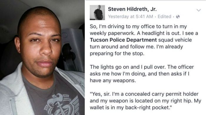 Armed Black Man's Facebook Post About Traffic Stop Goes Insanely Viral‏