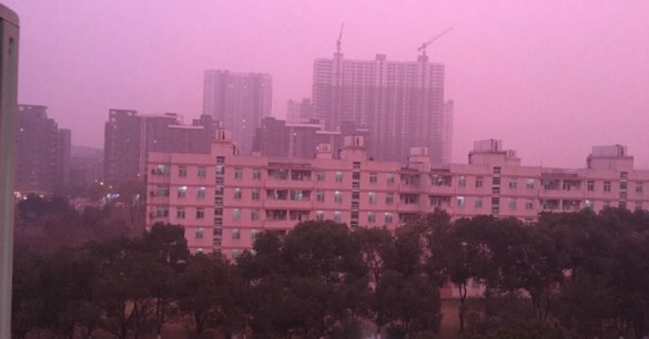 Mysterious Pink Cloud Covers Chinese City