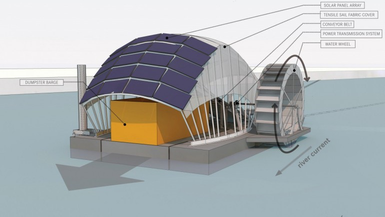 This Solar Powered 'Water-Wheel' Will Clean 23 Metric Tons of Trash From The Ocean Every Day