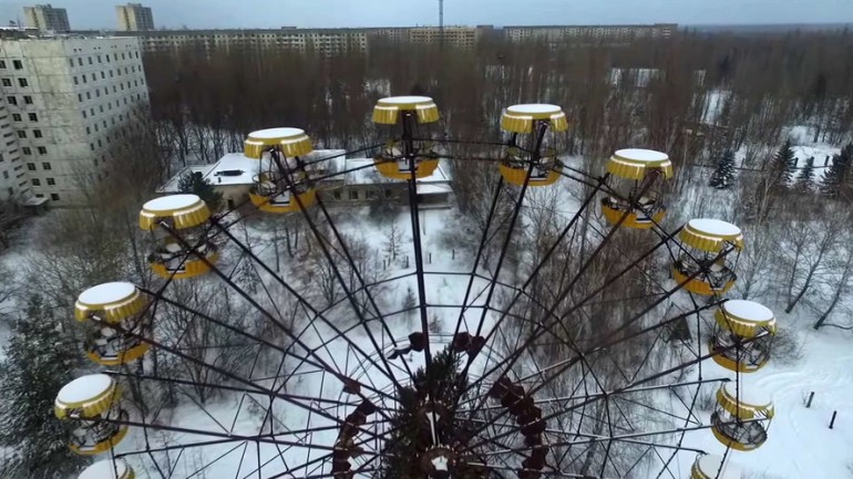 Drone Films Snowy Ghost Town Pripyat 30 Years After Chernobyl Disaster
