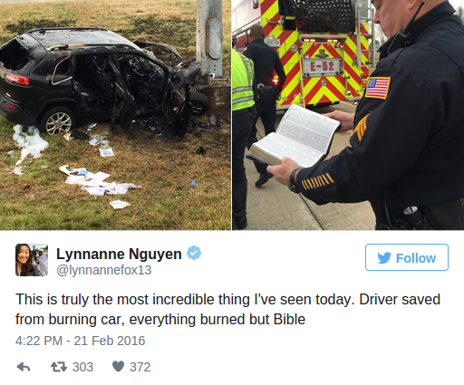 Bible Survives 'Unscathed' in Fiery Crash That Destroys SUV in Memphis KTLA