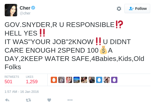Cher on Twitter GOV.SNYDER R U RESPONSIBLE⁉️ HELL YES‼️ IT WAS YOUR JOB 2KNOW‼️U DIDNT CARE ENOUGH 2SPEND 100💰A DAY 2KEEP WATER SAFE 4Babies Kids Old Folks
