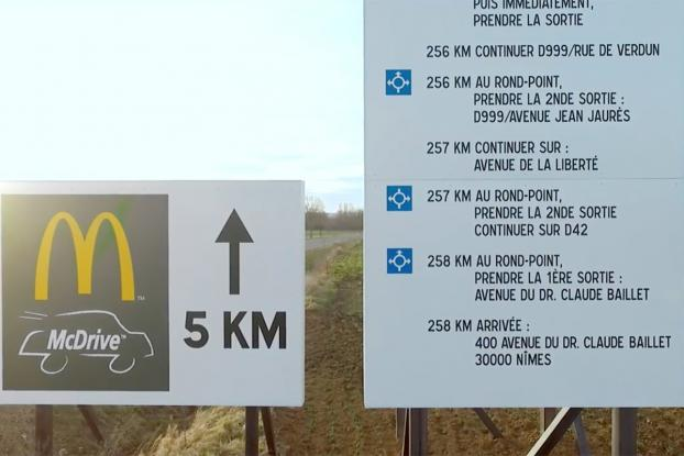 French McDonald's Billboard Gives Directions To Burger King Drive-Thru…..But Why