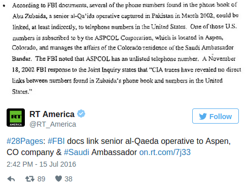 Congress releases long secret  28 pages  indicating Saudi ties to 9 11 — RT America