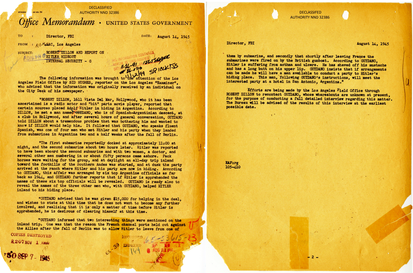 FBI Declassified Files - Hitler in Argentina