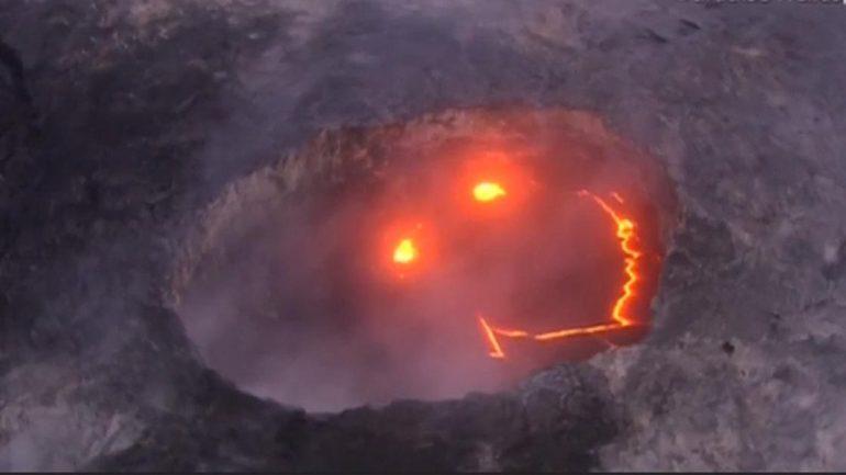 Hawaiian Volcano 'Smiles' As Lava Reaches The Ocean