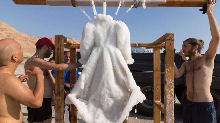 Artist Leaves Dress In The Dead Sea For 2 Years And It Turns Into Glittering Salt Crystal Masterpiece