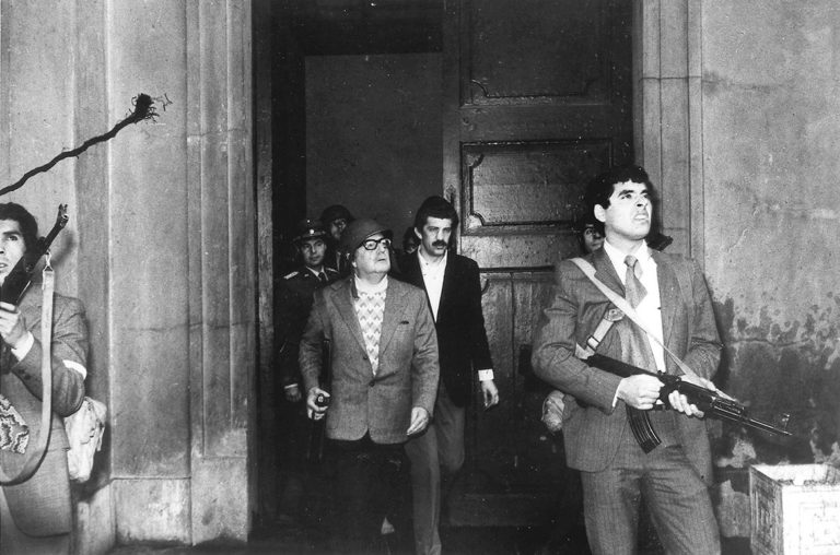 Chilean President Salvador Allende during the coup on 11 September 1973