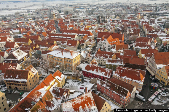 Top view on winter skyline of medieval town Nordlingen