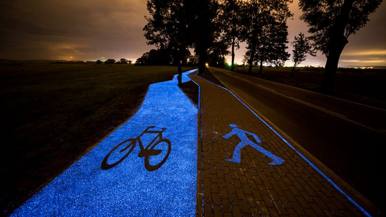 Poland Unveils Glow In The Dark Bicycle Path That Is Charged By The Sun