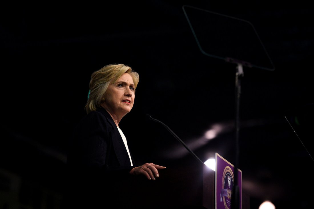 Democratic U.S. presidential candidate Hillary Clinton speaks to the General Conference of the African Methodist Episcopal Church during their annual convention at the Pennsylvania Convention Center in Philadelphia, Pennsylvania, U.S., July 8, 2016. REUTERS/Charles Mostoller