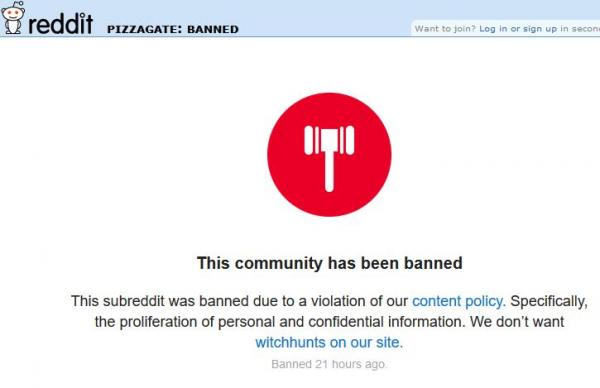 "Reddit Bans ""Pizzagate"" We Don't Want Witchhunts On Our Site"