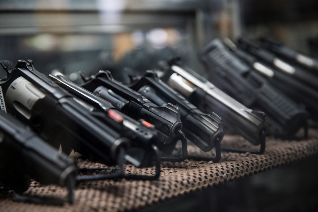 WASHINGTON, USA - JANUARY 9: Assorted pistols on display that customers can rent to use on the range at Blue Ridge Arsenal in Chantilly, Va., USA on January 9, 2015.  (Photo by Samuel Corum/Anadolu Agency/Getty Images)