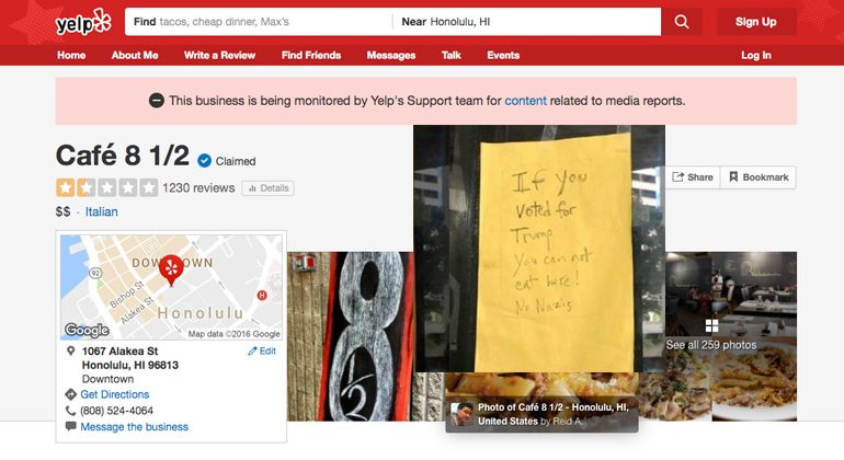 YELP Defends Diner Comparing Pro TRUMP Patrons To NAZIS