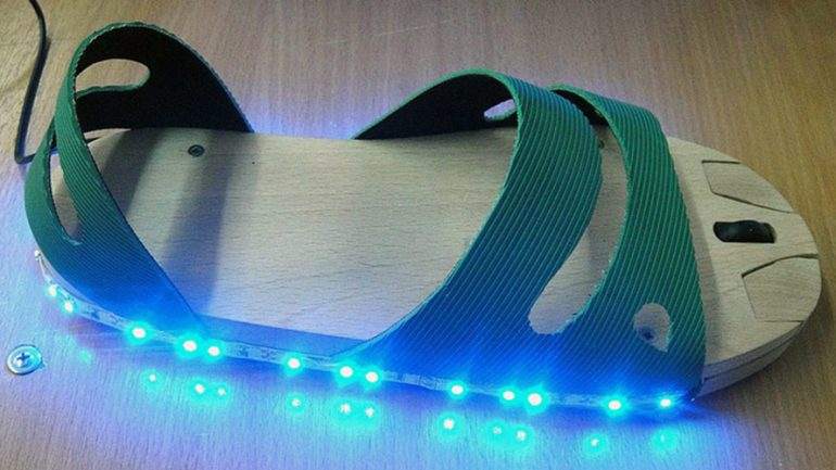 Russian Teen Invents LED 'Mouse Sandal' For People Who Have No Hands