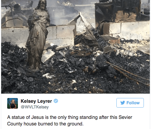 Only One Thing Was Left Standing After The Terrible Fire In Tennessee, And People Say It's A Miracle