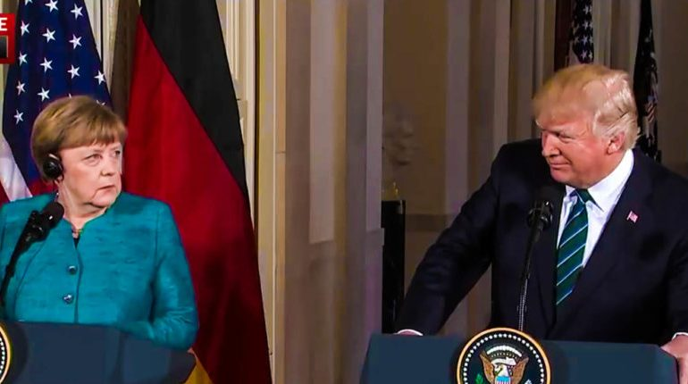 Angela Merkel Looks on In Horror As Trump Accuses German Reporter Of Spreading 'Fake News'