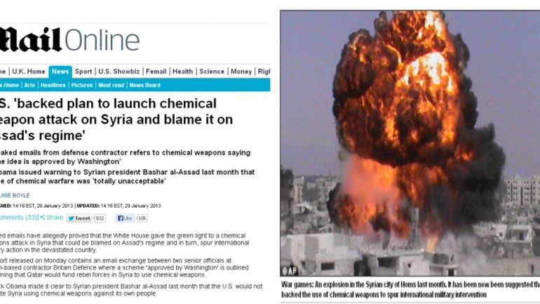 Deleted Daily Mail Article: 'US Backed Plan For Chemical Weapon Attack in Syria To Be Blamed on Assad'